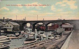 PAWTUCKET, Rhode Island, 1900-1910s; Yacht Anchorage At Division Street Bridge