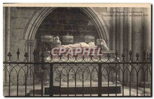 Old Postcard Tours Cathedral Tomb of Charles VIII of children