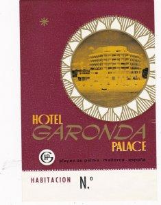 Spain Playas De Palma Mallorca Hotel Garonda Palace Vintage Luggage Label sk2440