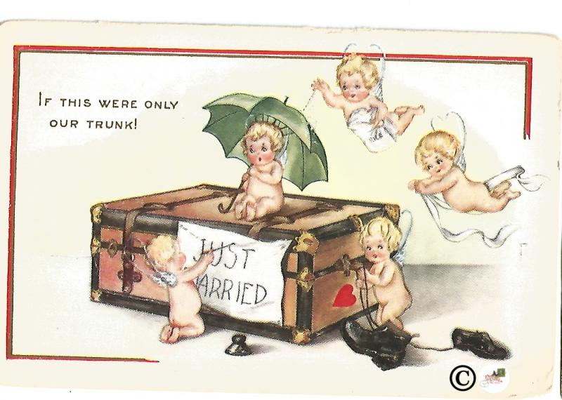 Vintage Just Married Postcard with Cupid Babies and Hope Chest Cute and Unique