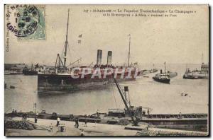 Old Postcard The Ship St Nazaire Transatlantic Champagne and Athlete tug retu...