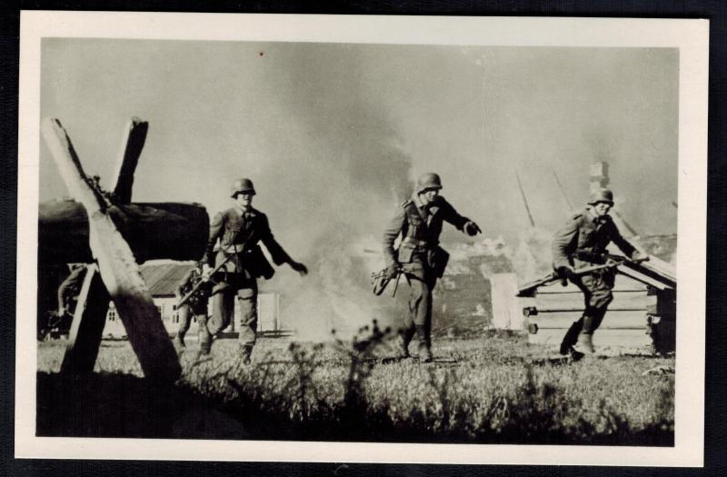 Mint WW2 RPPC Postcard Germany Army Wehrmacht Infantry Running Past Burning huts