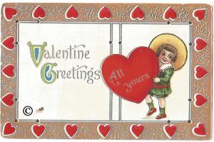 Valentine Greetings Postcard Vintage Valentine's Day Card Little Boy Red Heart