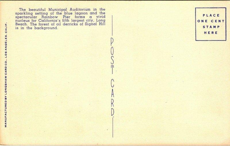 Vtg Linen Postcard Long Beach California CA Municipal Auditorium Unused UNP