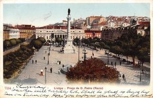 Portugal Lisboa - Praca de D. Pedro (Rocio) Statue Monument 1908