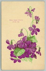 Flowers Greetings~Bloom of African Violets~c1910 Gel Embossed Postcard