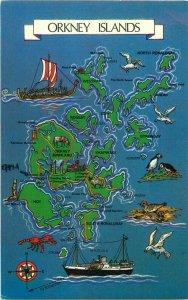 Orkney Islands map postcard