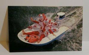 VTG Postcard Corky Clown Cypress Gardens Florida water ski review boat 1984  440
