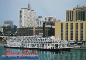 Minnesota St Paul Riverboat American Queen At Dock 1997