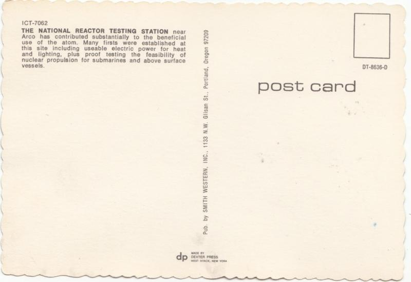 Arco, Idaho, first city in U.S. lighted by nuclear energy, unused Postcard