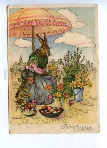 201793 EASTER dressed rabbit flowers seller KIENAST vintage PC