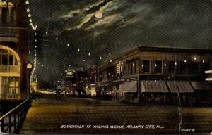 New Jersey Atlantic City Boardwalk At Virginia Avenue By Night