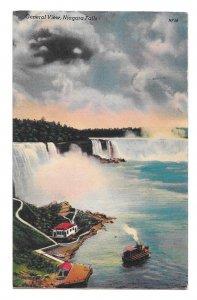 Niagara Falls Bridal Veil American Horseshoe Maid of the Mist Gen View Postcard