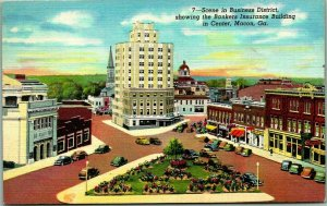 Macon, GA Postcard Downtown Street Scene w/ Bankers Insurance Building - Linen