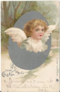 Peaceful Easter Angel Hatching out of Easter Egg Undivided Back Postcard Vintage