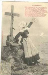 Woman waves to sailing vessel, France PU-1903 L'Esperance