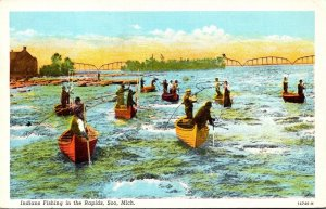 Michigan Soo Indians Fishing In The Rapids Curteich