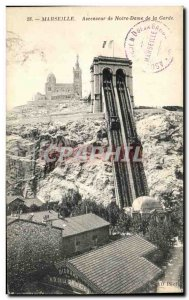 Old Postcard Marseille Elevator of Our Lady of the Guard