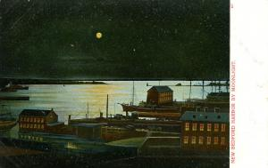 MA - New Bedford. The Harbor by moonlight