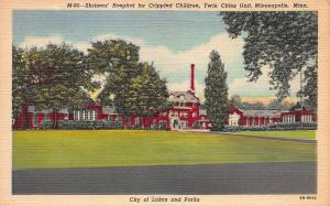 Shriners' Hospital for Children, Minneapolis, MN, Early Linen Postcard, unused