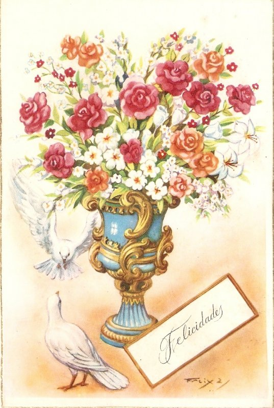 Beautiful flowers in art vase. Doves Nice  Spanish Greetings postcard 1950s