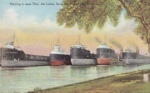 SAULT STE. MARIE, Ontario, Canada, 1900-1910's; Waiting To Pass Thro' The Locks