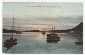 Sunset in Alaska at 9:45 pm 1908 postcard