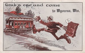 WYOCENA, Wisconsin, PU-1917; Grab A Car And Come, Man Running After Cable Car