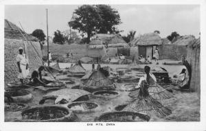 br104382 dye pits zaria africa real photo nigeria folklore costume