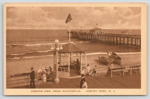 Asbury Park NJ~Fishing Pier~Natatorium Gazebo~Beach Life Saving Boats~1916 Sepia