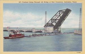 Texas Galveston Towboat Going Through Lift Bridge Of New Causeway Curteich