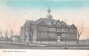 Milbank South Dakota~High School Building~Houses in Background~1911 Colored Sky