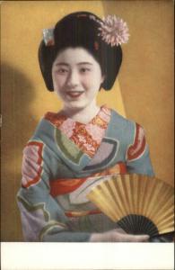 Budding Geisha Girl Kimono Fan Japan Travel Bureau Postcard