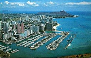 Hawaii Waikiki Aerial View Showing Yacht Harbor
