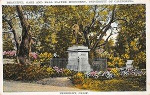 Oaks & Ball Player Monument BERKELEY University of CA c1910s Vintage Postcard
