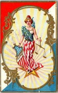 Vintage Embossed Patriotic Postcard COLUMBIA Lady Liberty Scales - 1910 Cancel