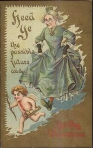 Valentine - Old Woman Chasing Cupid c1910 Postcard
