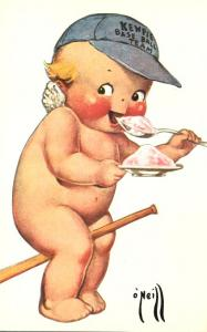 Rose O'Neill Kewpie Doll Reproduction - Baseball Player with Ice Cream
