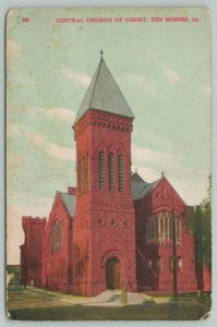 Des Moines Iowa~Tall Stump in Front of Central Church Of Christ Bell Tower~c1910