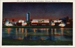 Chicago World's Fair Hall of Science by Illumination Unused Gerson Postcard F63