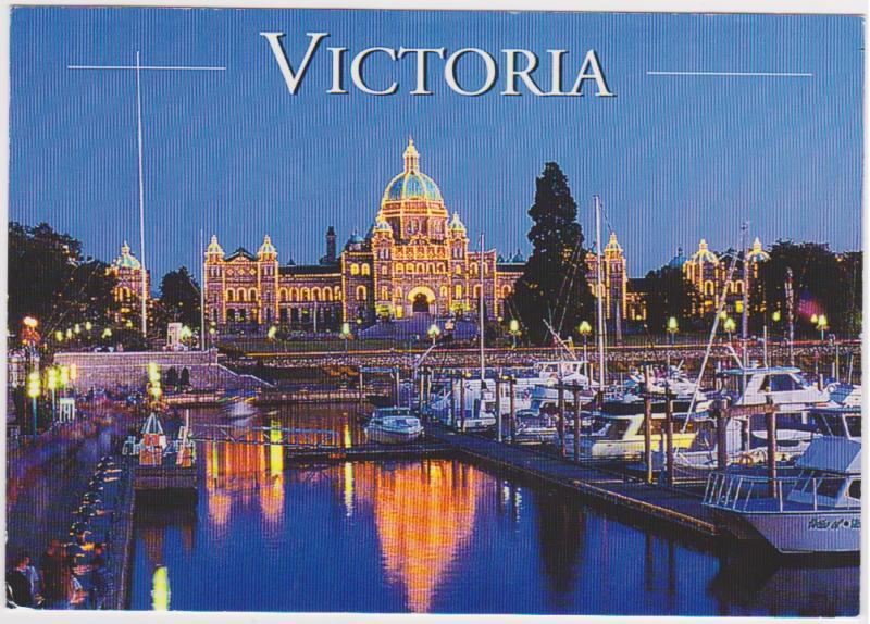 PARLIAMENT BUILDINGS AND INNER HARBOUR AT NIGHT, VICTORIA BC