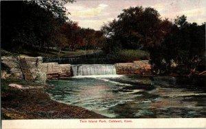 Twin Island Park Caldwell Kans. Kansas Vintage Postcard Standard View Card