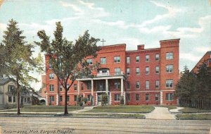 KALAMAZOO, MI Michigan   BORGESS HOSPITAL & Street View    c1910's Postcard