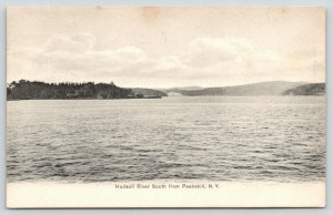 Peekskill New York~Hudson River Scenic View South of Town~1905 B&W Postcard