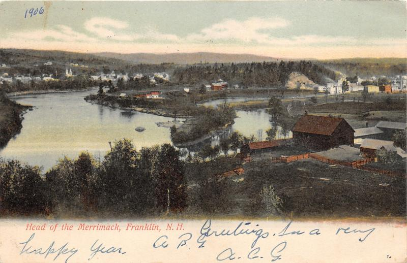 Franklin New Hampshire~Head of Merrimack Bird's Eye View~Houses Along Shore~1906