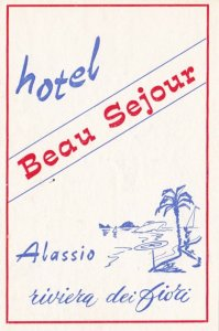 Italy Alassio Hotel Beau Sejour Vintage Luggage Label sk2224