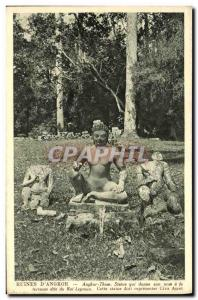 Old Postcard Ruins D Angkor Thom Statue which gives its name to the terrace o...