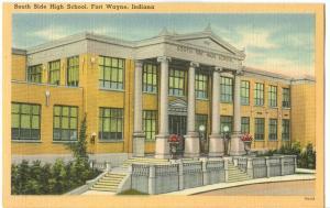 USA, South Side High School, Fort Wayne, Indiana, unused linen Postcard