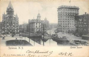 Syracuse New York~Clinton Square~Ships on Canal @ Bridge~1904 B&W Postcard