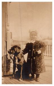 Young Girl in winter coat with Dog ,   RPC